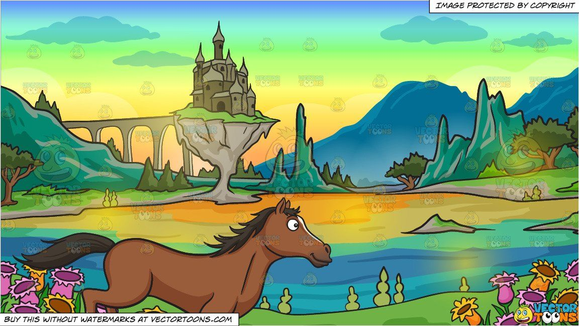 A Horse Running Wild And Free And A Castle In A Magical Land Background In 2020 Fantasy Places Dog Yoga Colorful Flowers