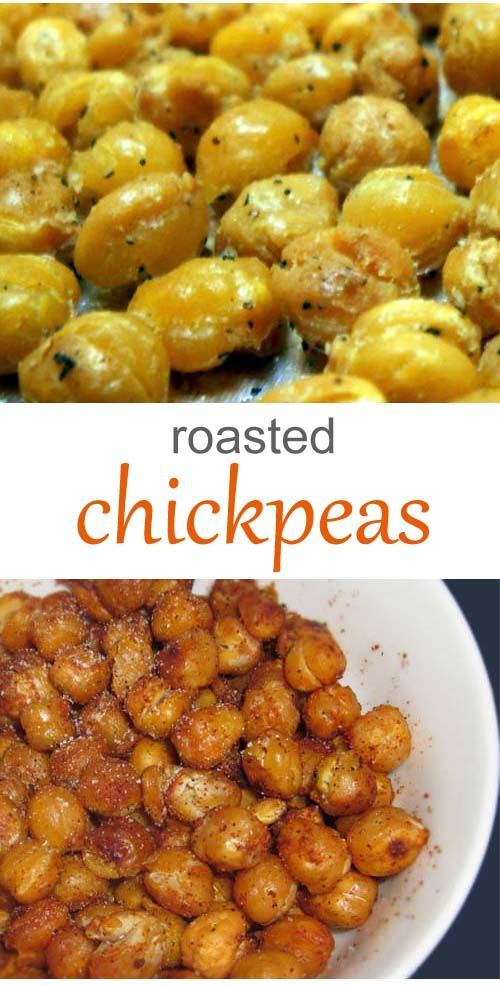 Roasted chickpeas are easily made at home. All you'll need is a can of chickpeas (a.k.a. garbanzo beans), some olive oil and seasoning.