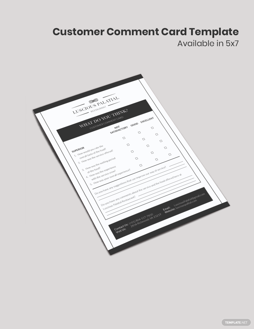 Customer Comment Card Template Word Doc Psd Apple Mac Pages Illustrator Publisher Card Template Templates Cards