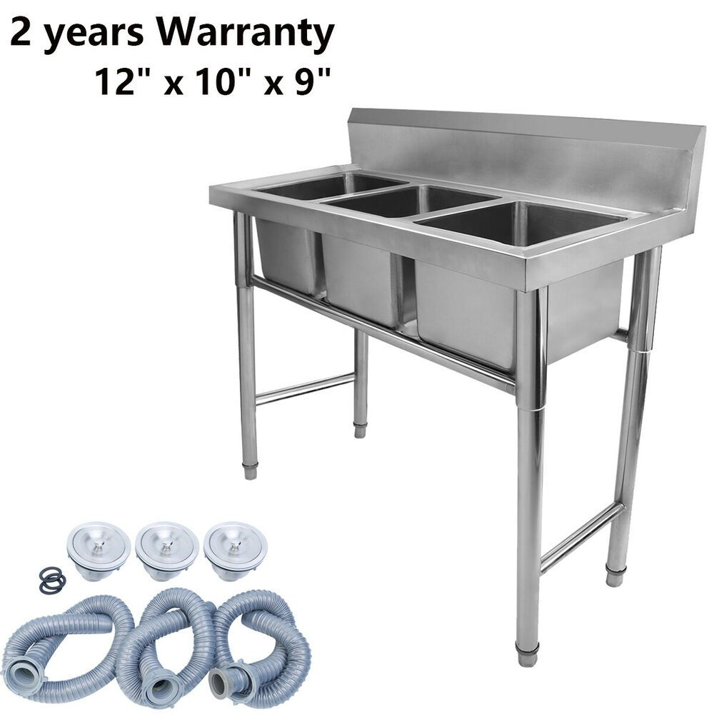 Ebay Sponsored 3 Compartment Stainless Steel Kitchen Commercial Sink Heavy Duty 12 X 10 X 9 Stainless Steel Kitchen Commercial Sink Kitchen Work Tables