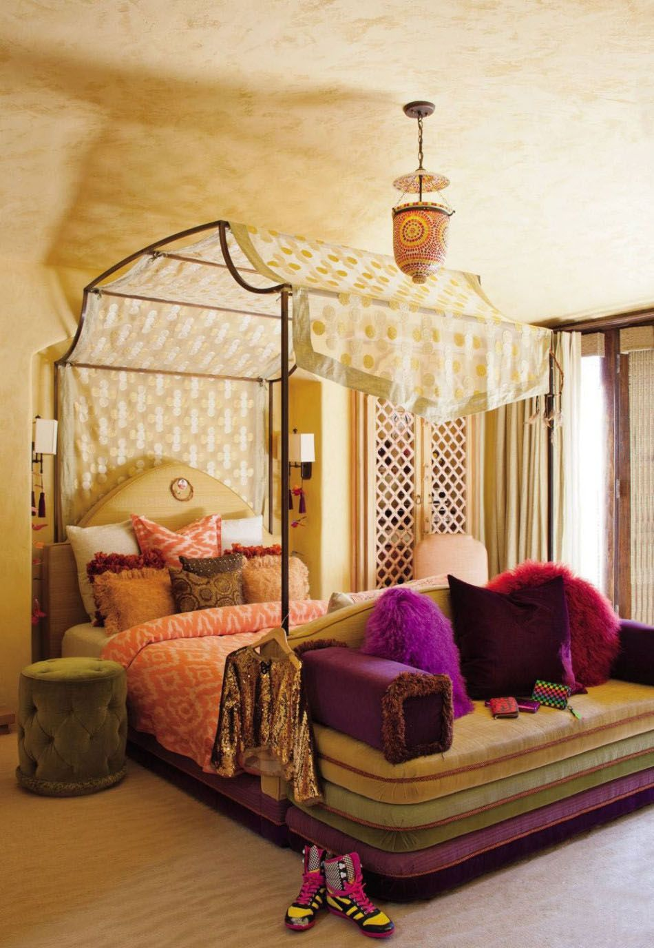 Moroccan Bed Canopy bohemian bedroom inspiration: four poster beds with boho chic