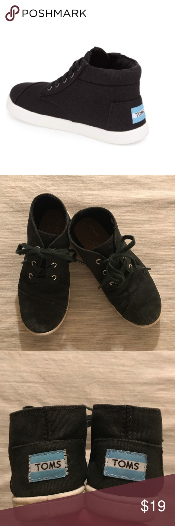 Toms boys black high top shoes/sneakers