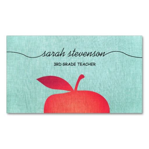 Big red apple school teacher linen look businesscards for Teacher business cards templates free