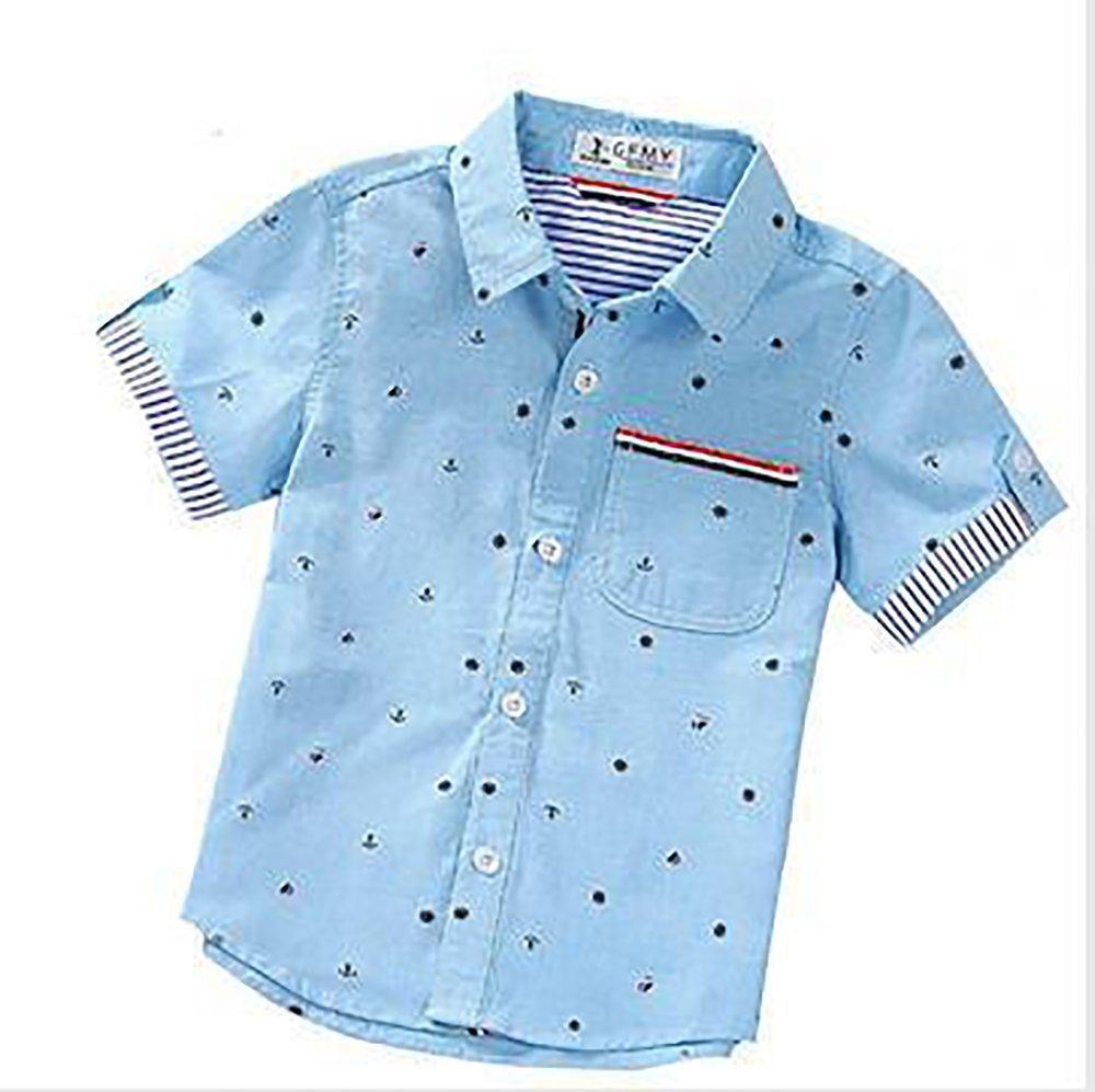 Boys Denim Shirt Kids Short Sleeved Faded Collared Cotton Casual Fashion Summer