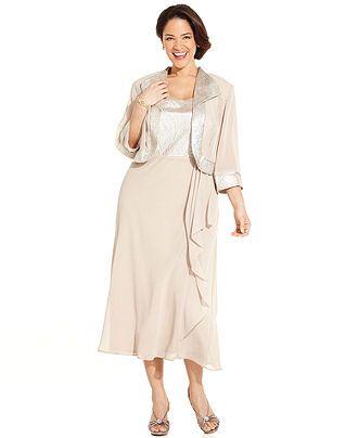 Le Bos Plus Size Dress and Jacket, Sleeveless Ruffled - Plus Size ...