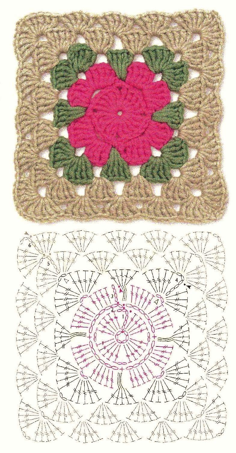 Pin de Cristina Rovirosa en Cuadros Crochet | Pinterest | Cuadrados ...