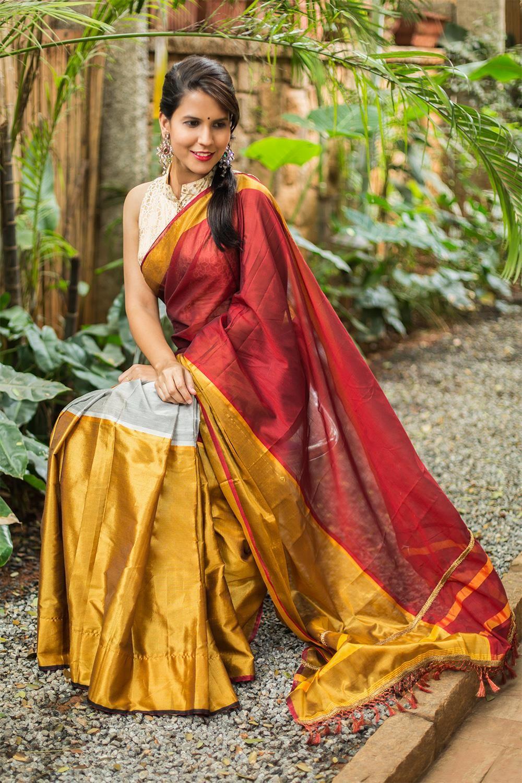 794a967ece Maroon, grey and gold colour block cotton silk saree #saree #houseofblouse  #colorblock #silksaree