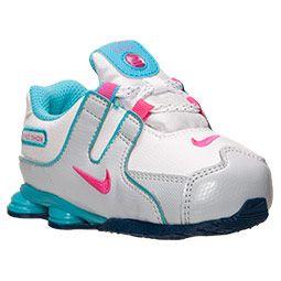 0c8b1a3655b90 Girls' Toddler Nike Shox NZ Running Shoes | FinishLine.com | White/Pink  Foil/Gamma Blue
