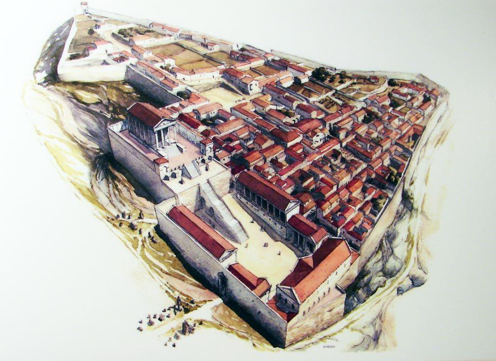 Gerunda En Girona Cataluna Ilustracion De La Ciudad Romana De