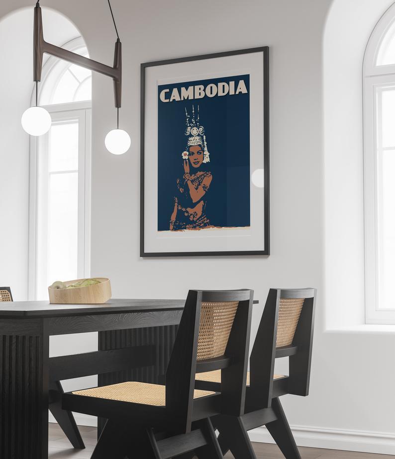 Asia Cambodia Poster Phnom Cambodia Print Black and White Cambodge Cambodia Photo Cambodia Decor Kampuchea Penh Cambodia Wall Art