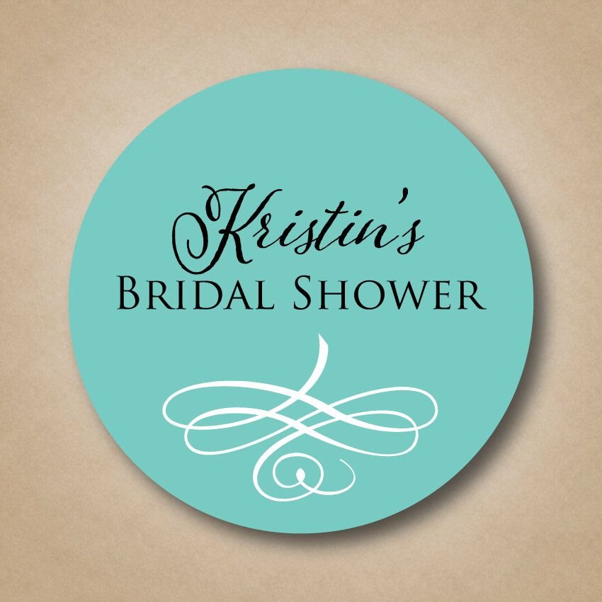 personalized bridal shower favor stickers custom wedding shower labels round favor sticker labels beach bridal shower