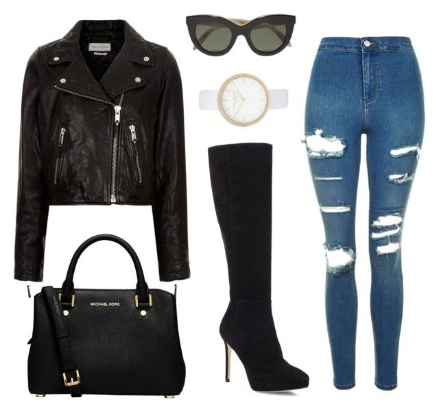 """""""Rocker chic"""" by alys18 ❤ liked on Polyvore featuring Jimmy Choo, Étoile Isabel Marant, Topshop, MICHAEL Michael Kors, Victoria Beckham, River Island, rockerchic and rockerstyle"""