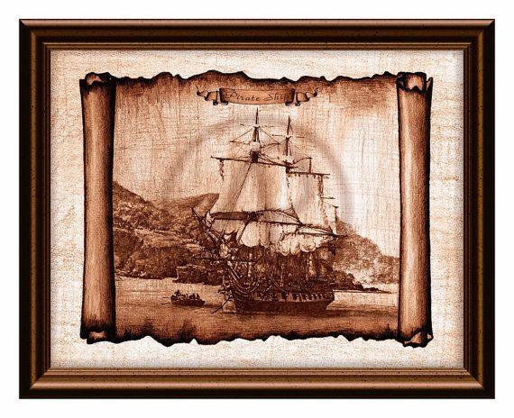 Pirate Ship of Treasure Island Parchment Decor Art,Ship Drawing,Ship ...