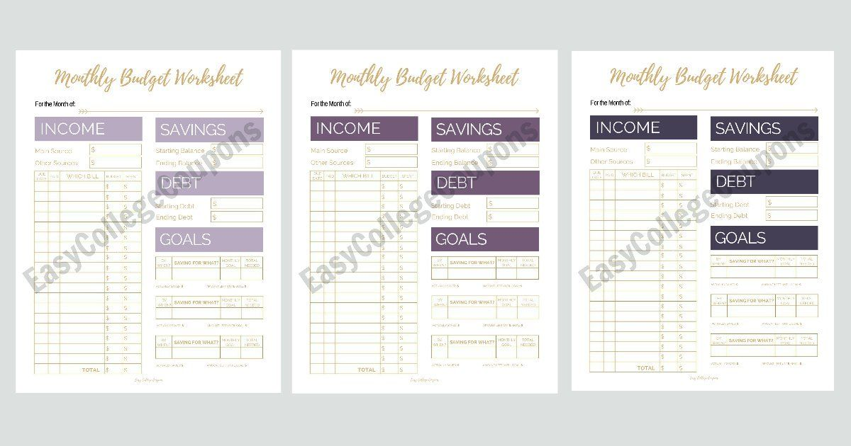 Free Printable Monthly Budget Worksheets Monthly budget, Printable - simple budget sheets