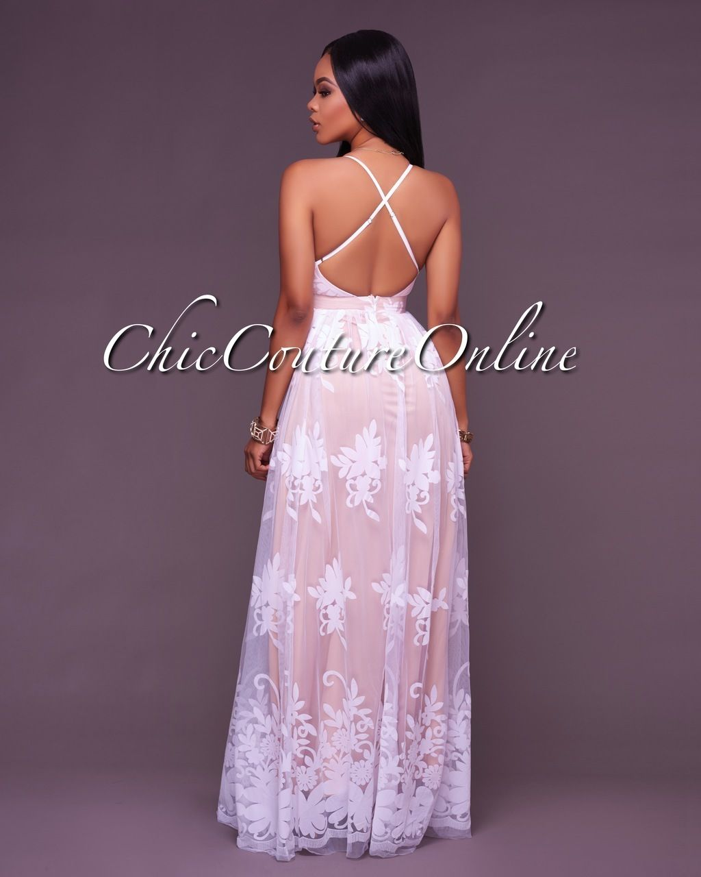 8764c28e439 Amabel Off-White Floral Print Nude Tulle Maxi Dress in 2019 ...
