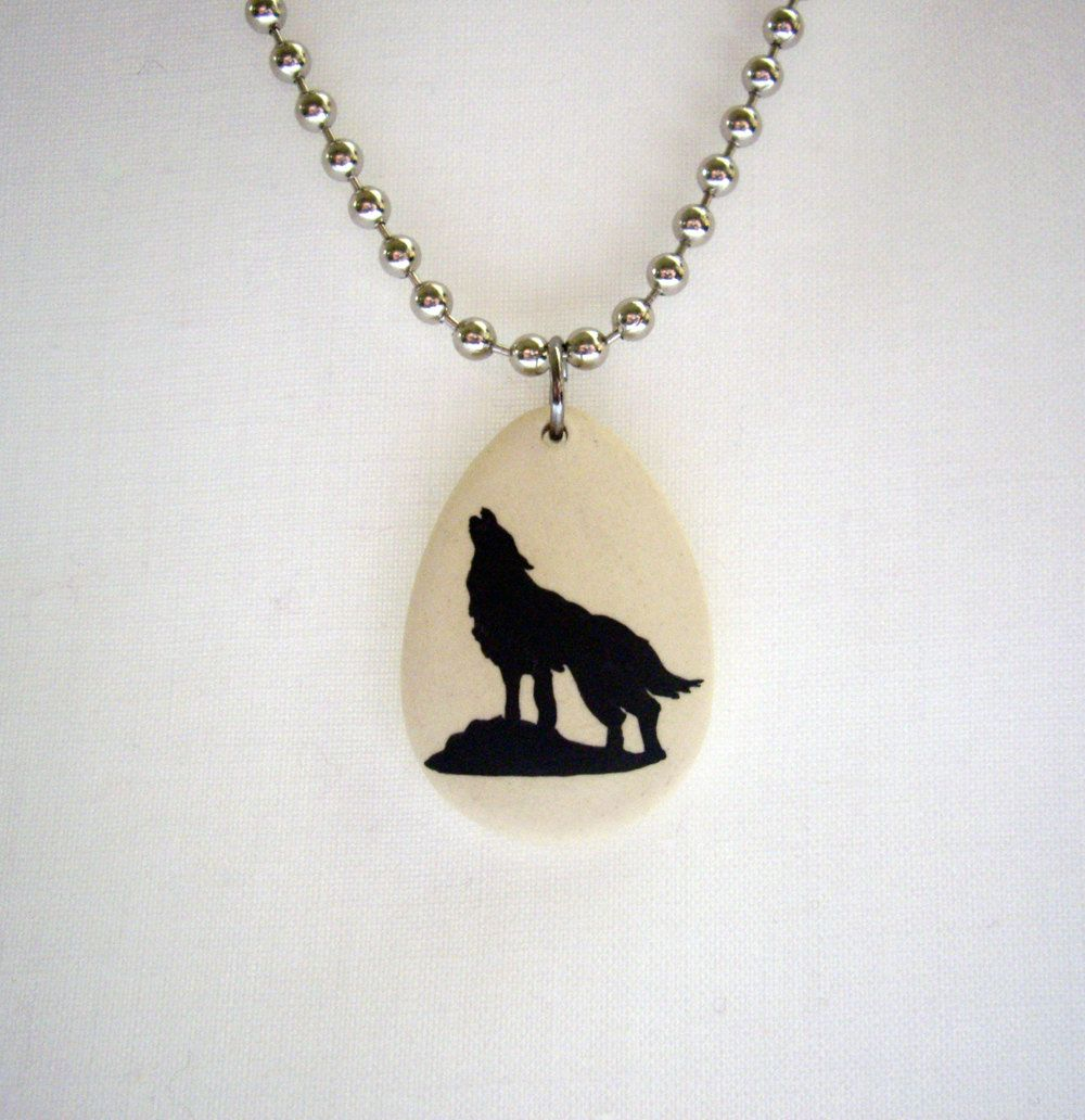 Men's Wolf Necklace - Hand Painted - Handmade - Ceramic. $14.95, via Etsy.