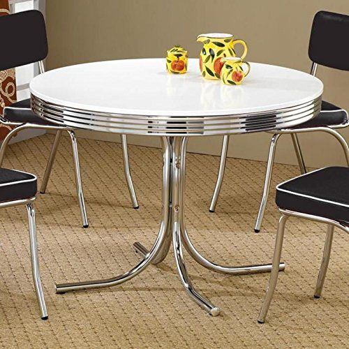 Coaster Retro Round Dining Kitchen Table In Chrome White With