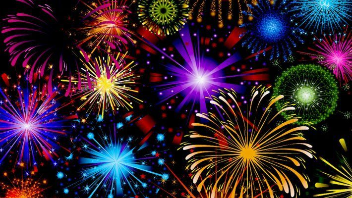 Celebration Fireworks In Red Blue Yellow And Green Color Wallpaper Hd For Mobile Phone Tablet Pc 1920x1200