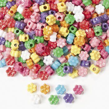 Flower Pony Beads 600 pc by Fun Express