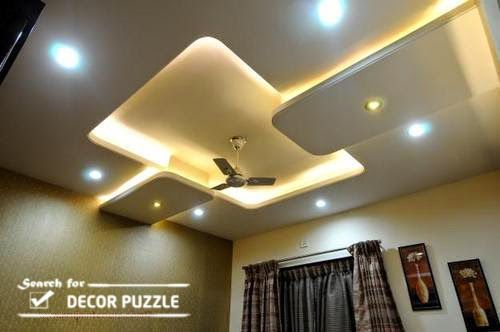 Pop designs for roof false ceiling led lights for living for Room design roof