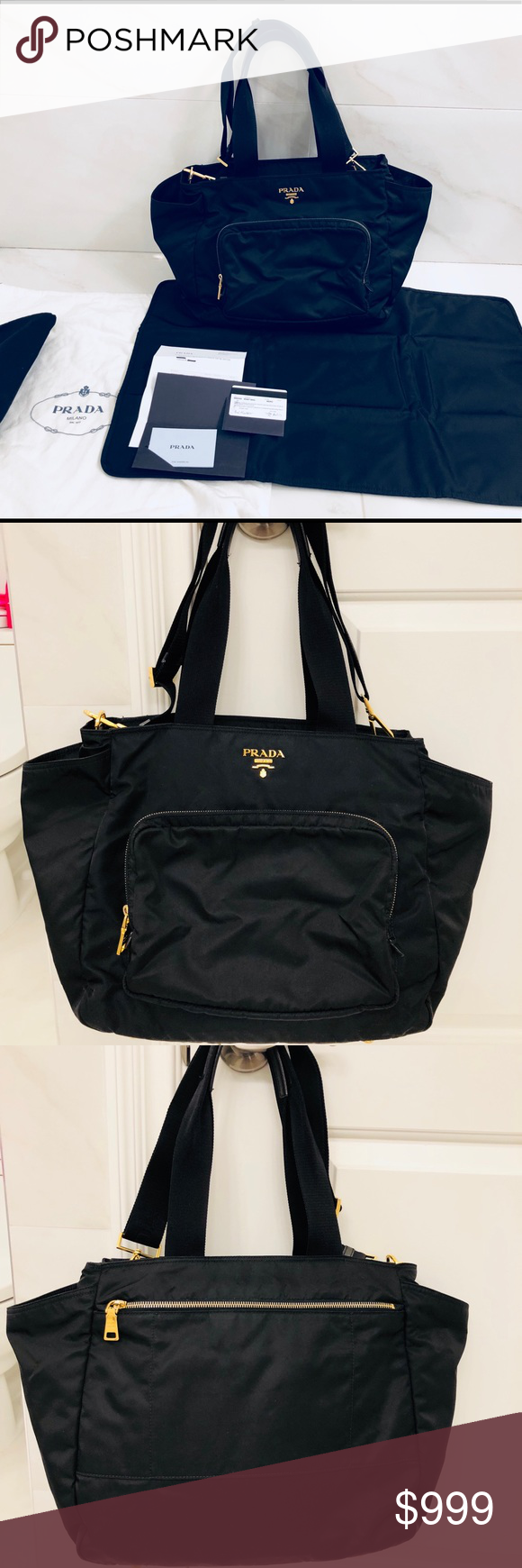 3595db524576 Prada Women s Vela nylon baby bag Guaranteed Authentic. Rare due to the  gold trim which is hard to find. Worn a few times. Still in good condition.