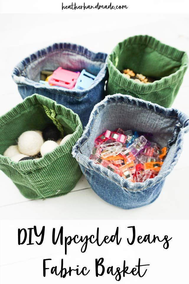 Upcycled Jeans Fabric Basket -   19 DIY Clothes For Winter fabrics ideas