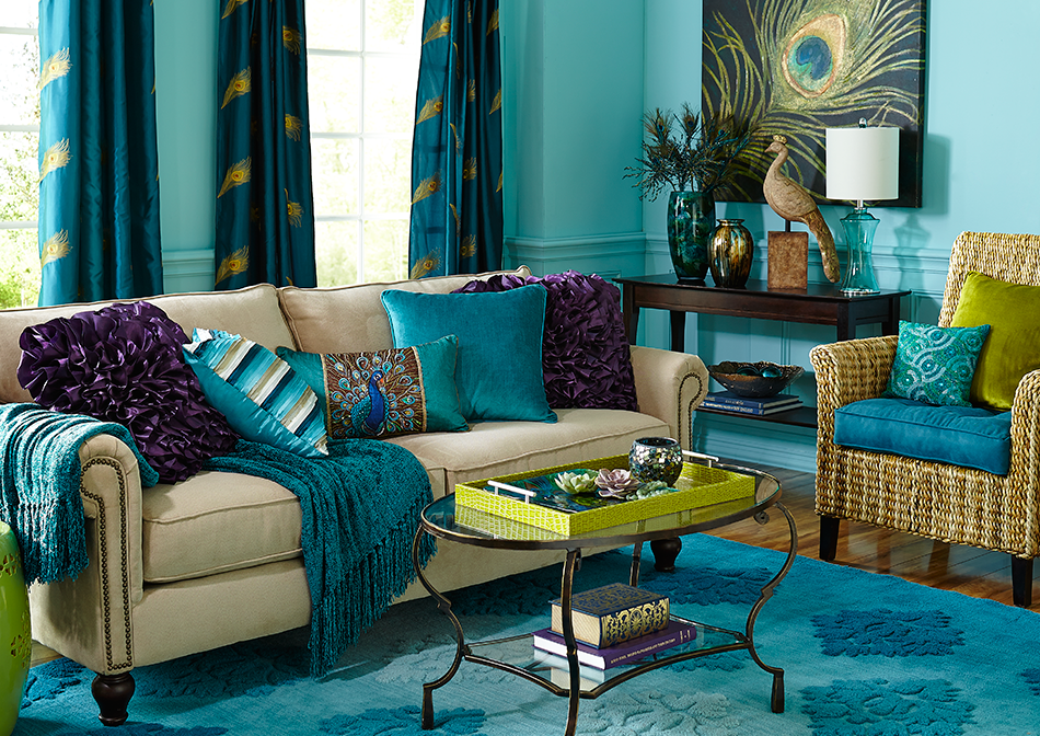 Bold Peacock Colours Make For A Very Refreshing Living Room Scheme. Part 54
