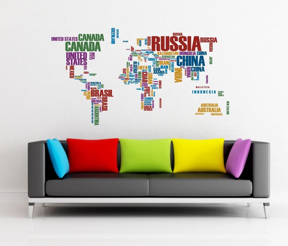 Gallery of Vinyl Wall Art World Map - Fabulous Homes ...