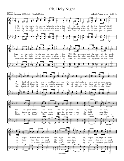 Oh, Holy Night - Hymnary.org | Christmas sheet music, Christmas music, Christmas songs lyrics