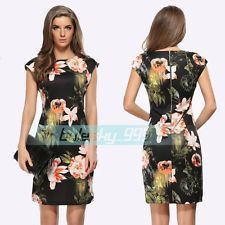 Vintage Style Flower Women Office Bodycon Slim Party Cocktail Pencil Dress