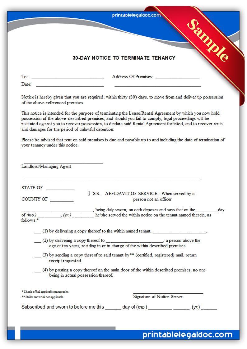 Printable Sample 30 day notice to terminate tenancy Form