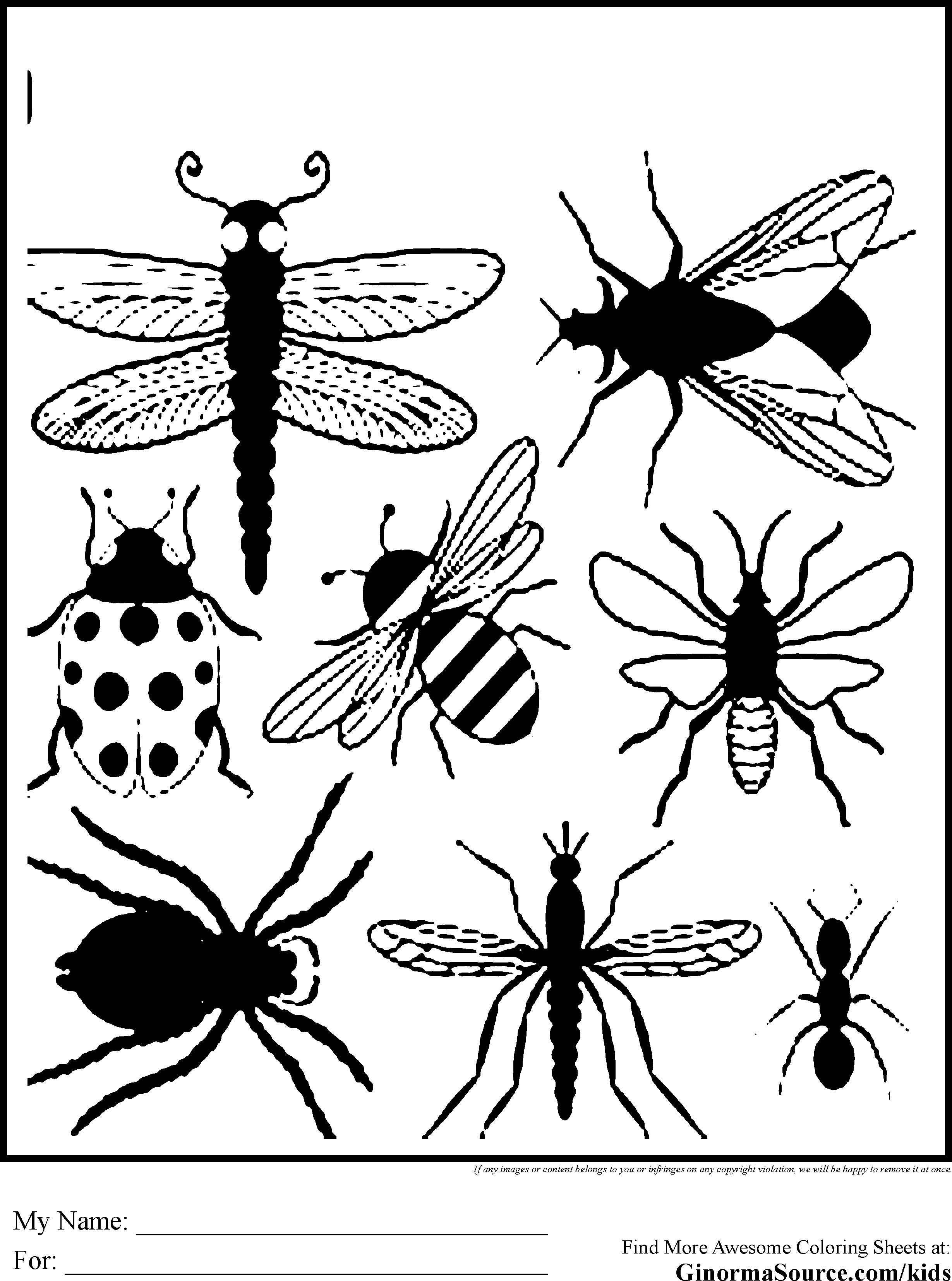Coloring Book Pages Insects Bug Coloring Pages To Print Printables Pinterest