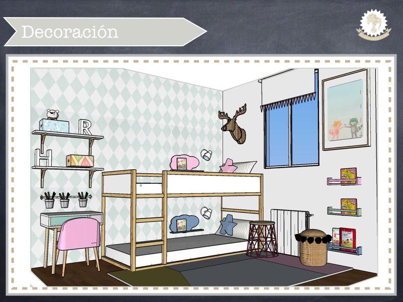 Dormitorio compartido ni o y ni a habitaci n infantil for Decoracion habitacion compartida nino nina