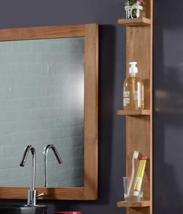 Design Installation étagère Murale Teck Salle De Bain Et Miroir
