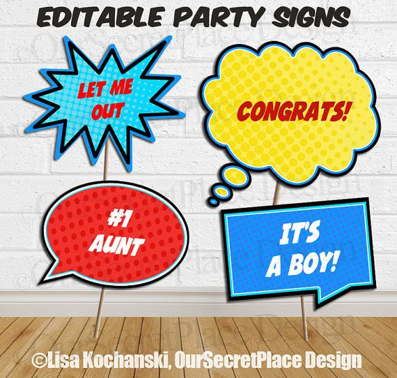 INSTANT DOWNLOAD Editable Superhero Signs Superhero Party Signs