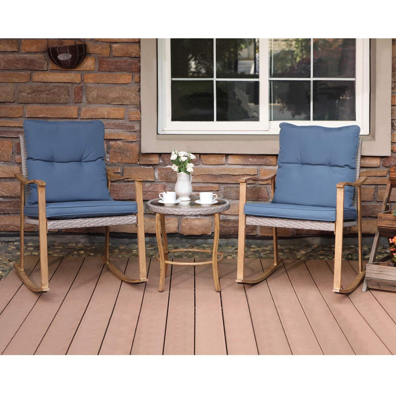 3Piece Outdoor Patio Furniture Faux Woodgrain Rocking