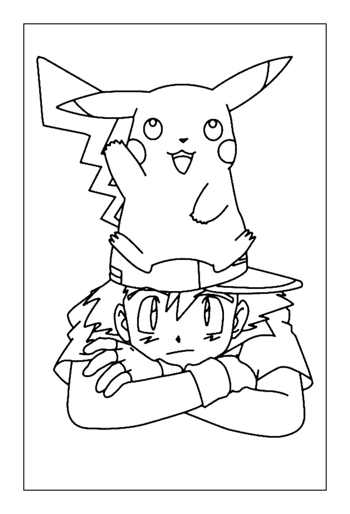 Ash and Pikachu Coloring Pages | Pikachu coloring page ...