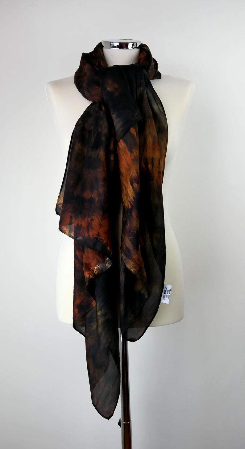 Walnut Brown Orange Silk Scarf Oversized Brown Silk Scarf Hand Etsy Hand Dyed Silk Scarf Brown Silk Large Silk Scarf