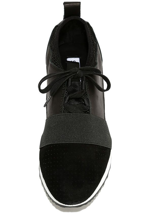 06453a3be2c New fashion heights have been reached with the Steve Madden Altitude Black  Leather and Mesh Sneakers! Sleek genuine leather and soft suede combine to  form ...