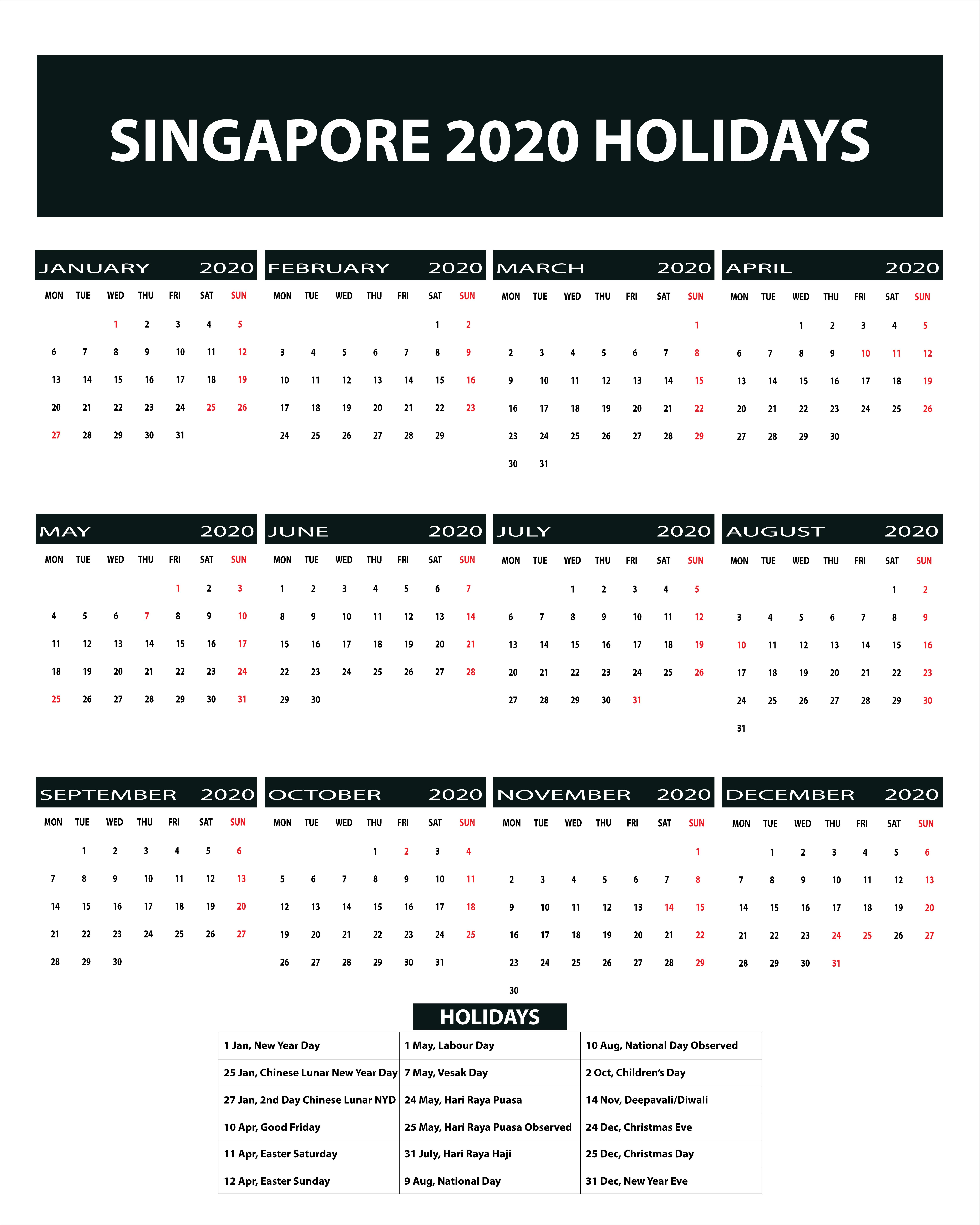 Printable Pdf Printable One Page Calendar 2021 Singapore