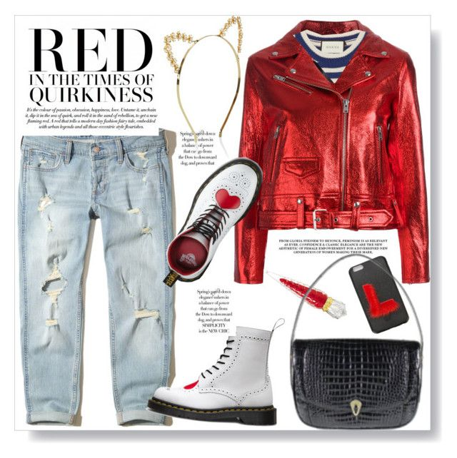"""Red Biker Jacket"" by vintagecarwen ❤ liked on Polyvore featuring Hollister Co., IRO, Gucci, Fendi, Christian Louboutin, Dr. Martens, Monsoon and vintage"