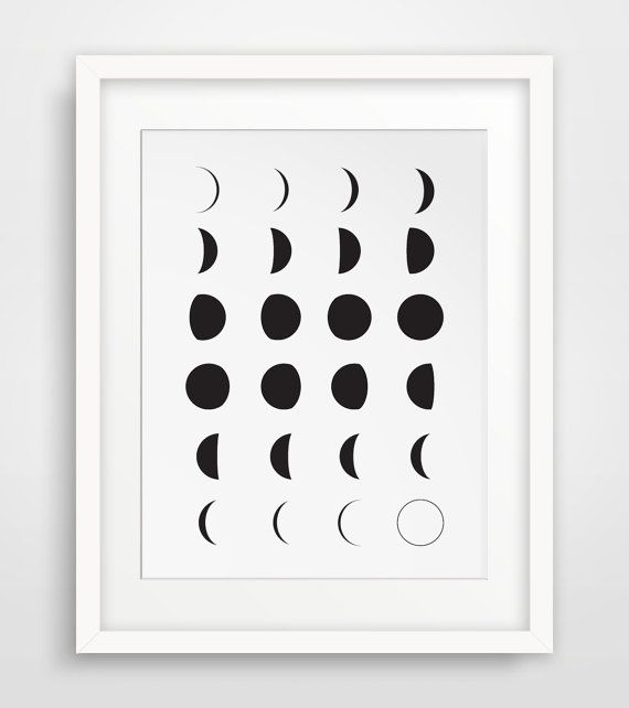 Moon art moon prints moon calendar black and by melindawooddesigns