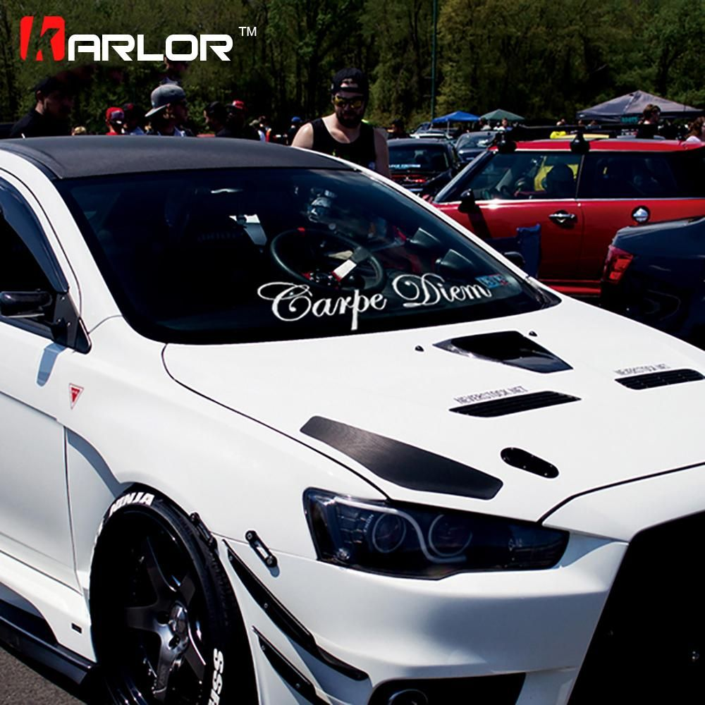 Fashion carpe diam quality vinyl white reflective car auto decal front rear window windshield body sticker universal car styling