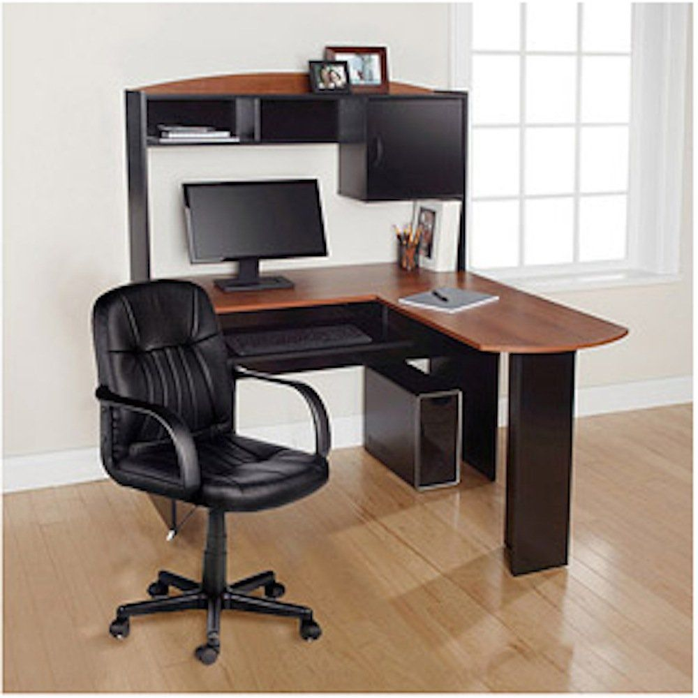 office corner desk with hutch. Modern L-Shaped Office Computer Workstation Organizer Corner Desk With Hutch And Leather Back Support 2