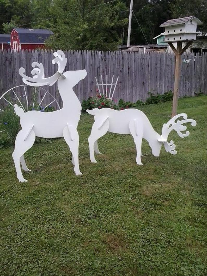 Outdoor White Reindeer Christmas Wood Yard Art Lawn Decoration Etsy Christmas Yard Art Wood Yard Art Christmas Wood