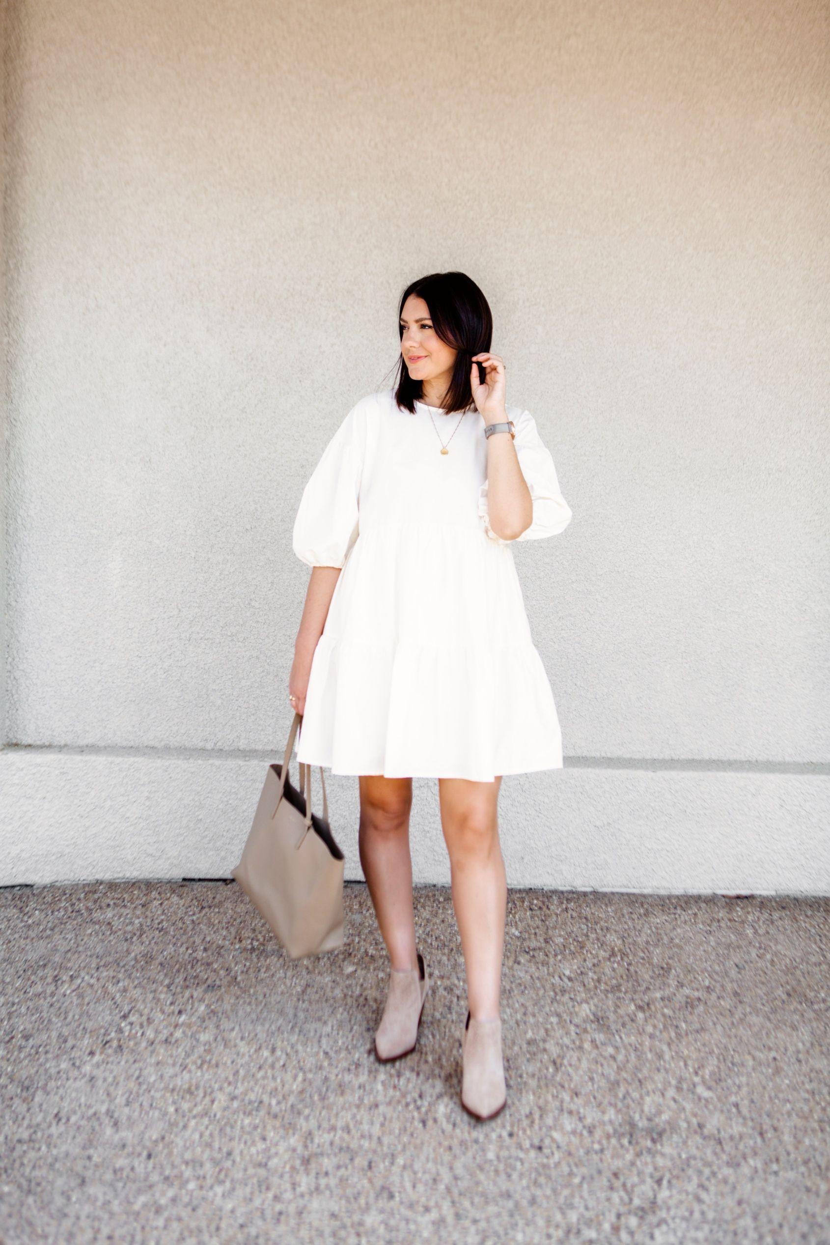 Chop Chop Kendi Everyday White Tiered Dress Fall Dress Outfit White Dress [ 2534 x 1690 Pixel ]