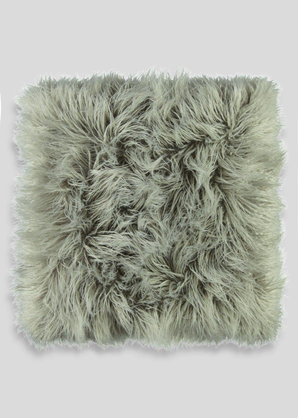 Large faux mongolian fur cushion cm x cm u matalan household