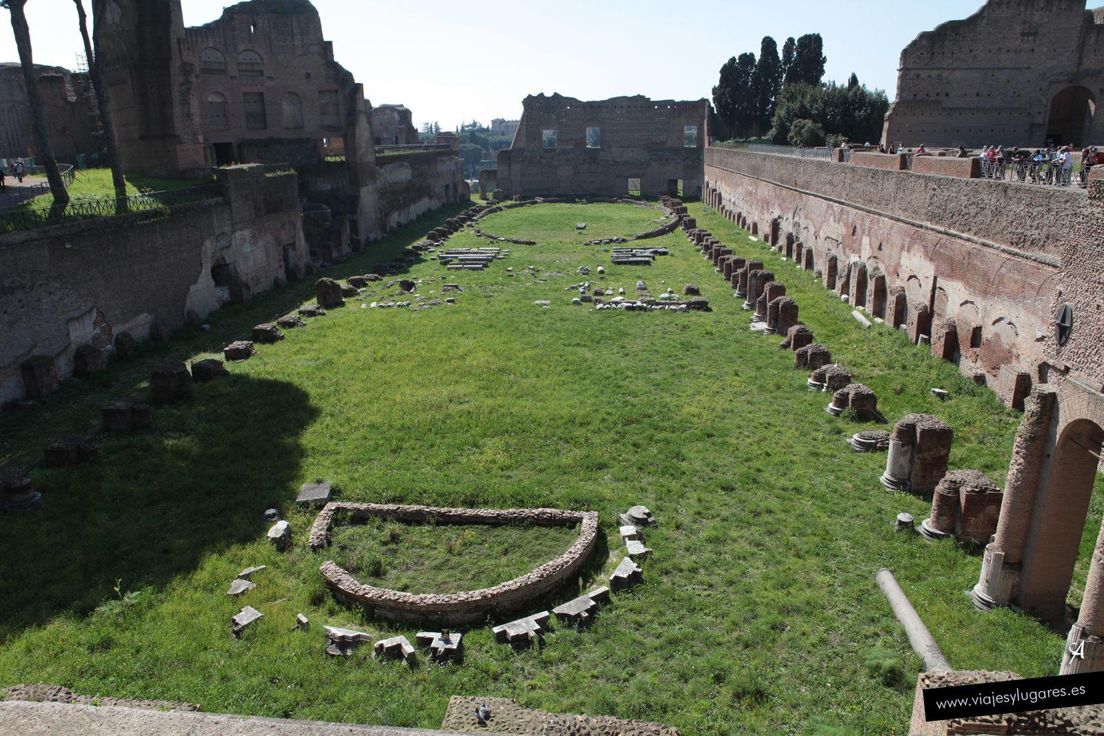Ubicado en la parte privada de la Domus Augustana, el Estadio Palatino es un gran jardín en forma circo, de 160x50 m., rodeado por una columnata, aunque es demasiado pequeño para carreras de carros. Puede haber sido como un estadio griego, un local para carreras pedestres. Su propósito exacto es objeto de debate. En la época de los Severos, se usó para acontecimientos deportivos, pero lo más probable es que en origen se construyera símplemente como un jardín.