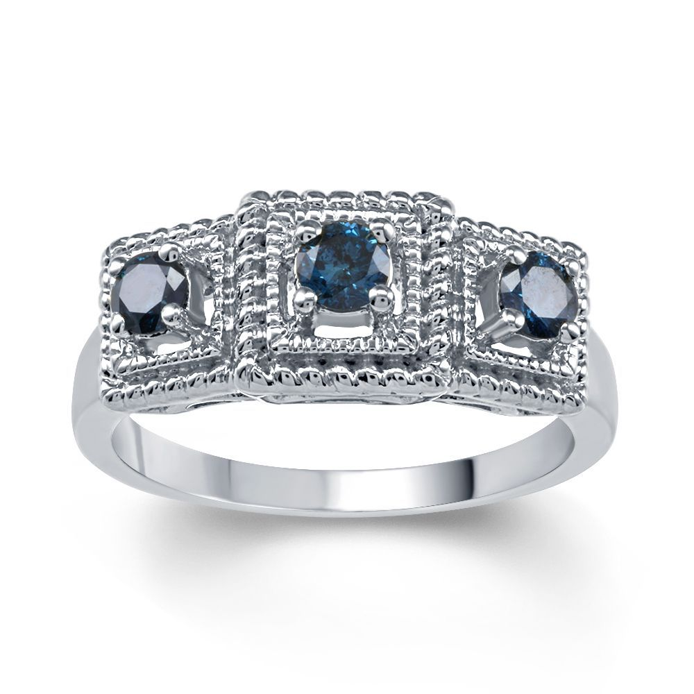 Sterling Silver 1/2ct TDW Blue Diamond 3- Stone Ring (I2-I3) (Size ...