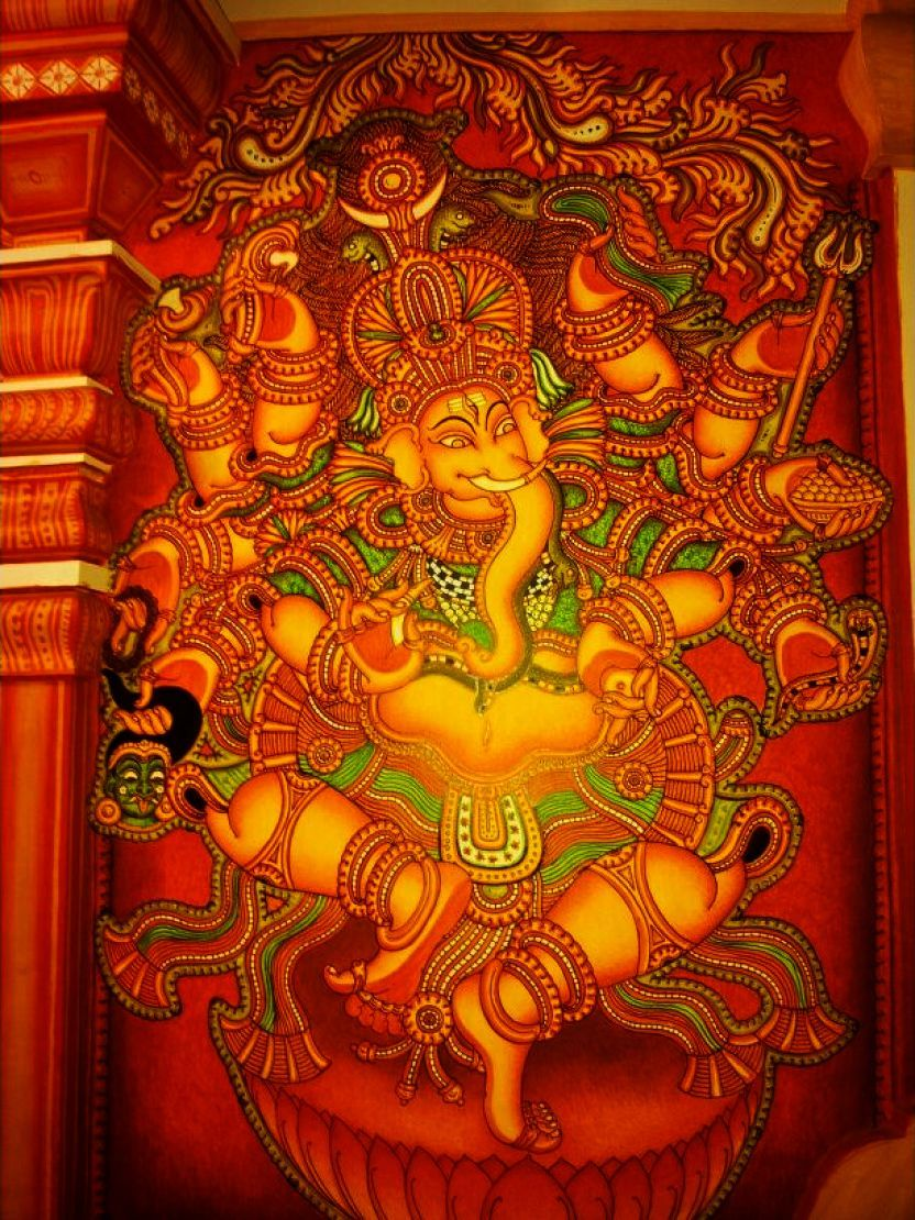 Hindu cosmos photo tanjore leaf paintings for Mural art of ganesha